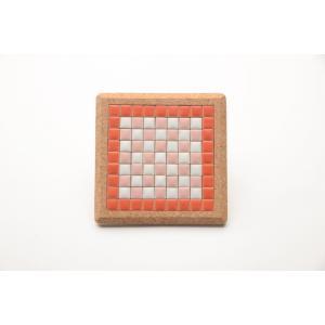 【コースター】 モザイクタイル コルクコースター 12×12cm 【レッド×ピンク】 赤 桃 桜 色彩豊かな全12種 COASTER-RP|tileshopym