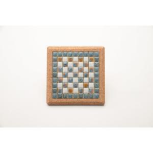【コースター】 モザイクタイル コルクコースター 12×12cm 【ターコイズ】 青 色彩豊かな全12種 COASTER-T|tileshopym