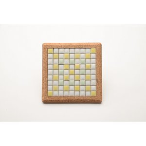 【コースター】 モザイクタイル コルクコースター 12×12cm 【イエロー】 黄 色彩豊かな全12種 COASTER-Y|tileshopym