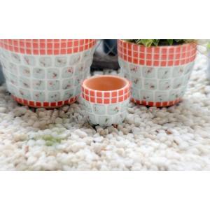 【植木鉢】 モザイクタイル 植木鉢 深型 2.5号 直径10cm おしゃれなハンドメイド商品 FPOT-D-2.5|tileshopym