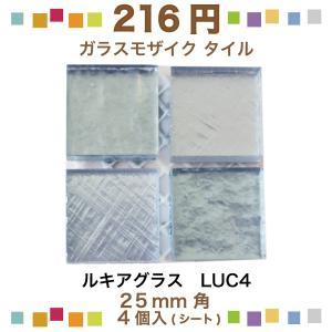 ルキアグラス 25mm角ネット張り 1袋4枚 青 IM-25P1/LUC4|tileshopym
