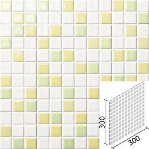 ニュアンス<ミックス> 25mm角ネット張り 4枚×2セット アイボリー×レモンイエロー×黄緑 IM-25P1/NY504|tileshopym