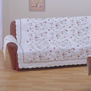 応接室などにぴったりな上品な刺繍ソファーカバー! 柄の花はすべて刺繍!! オールコットンで上質なソフ...