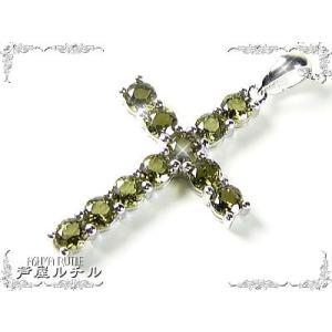 天然モルダバイトのクロスネックレス/Lサイズ/隕石の衝突でできた宝石/芦屋ダイヤモンド/宝石ジュエリーネックレス|time-yume7