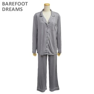 ベアフットドリームス パジャマ B186-124 PEWTER/PEARL Luxe Milk Jersey Piped Pajama Set レディース BAREFOOT DREAMS|timeclub