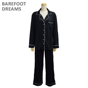 ベアフットドリームス パジャマ B186-512 BLACK/PEARL Luxe Milk Jersey Piped Pajama Set レディース BAREFOOT DREAMS|timeclub