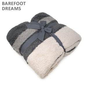 ベアフットドリームス ブランケット B818-204 CozyChic Block Stripe Throw Carbon/Warm Gray/Stone BAREFOOT DREAMS|timeclub