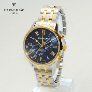 SWISS MADE 【国内正規品】 EARNSHAW (アーンショウ) 時計 腕時計 ES-0017-77 ブレス ブルー/ゴールド/シルバー メンズ ウォッチ クォーツ|timeclub