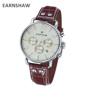 EARNSHAW アーンショウ 時計 腕時計 ES-8001-05 レザー ブラウン/シルバー メンズ ウォッチ クォーツ|timeclub