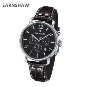 EARNSHAW アーンショウ 時計 腕時計 ES-8001-08 レザー ブラック/シルバー メンズ ウォッチ クォーツ|timeclub