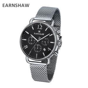 EARNSHAW アーンショウ 時計 腕時計 ES-8001-11 メッシュ シルバー/ブラック メンズ ウォッチ クォーツ|timeclub