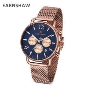 EARNSHAW アーンショウ 時計 腕時計 ES-8001-55 メッシュ ピンクゴールド/ネイビー メンズ ウォッチ クォーツ|timeclub