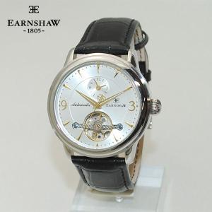 国内正規品 EARNSHAW (アーンショウ) 時計 腕時計 ES-8003-03 レザー シルバー/ブラック 自動巻き メンズ ウォッチ|timeclub