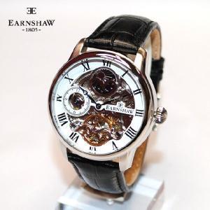 【国内正規品】 EARNSHAW (アーンショウ) 時計 腕時計 ES-8006-01 レザー ホワイト/シルバー/ブラック メンズ ウォッチ 自動巻き|timeclub