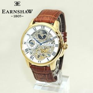 【国内正規品】 EARNSHAW (アーンショウ) 時計 腕時計 レザー ES-8006-02 ホワイト/ゴールド/ブラウン メンズ ウォッチ 自動巻き|timeclub