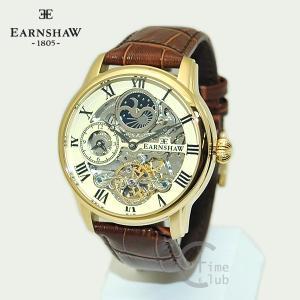 EARNSHAW 時計 アーンショウ 腕時計 ES-8006-06 レザー ブラウン ゴールド シャンパン メンズ|timeclub