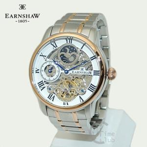 EARNSHAW 時計 アーンショウ 腕時計 ES-8006-33 ブレス シルバー ホワイト ピンクゴールド メンズ|timeclub