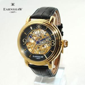 【国内正規品】 EARNSHAW (アーンショウ) 時計 腕時計 ES-8011-03 レザー ブラック/ゴールド 自動巻き メンズ ウォッチ|timeclub