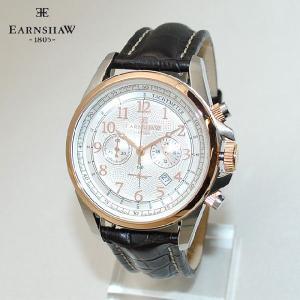 【国内正規品】 EARNSHAW (アーンショウ) 時計 腕時計 ES-8028-09 レザー ブラック/ゴールド メンズ ウォッチ クォーツ|timeclub