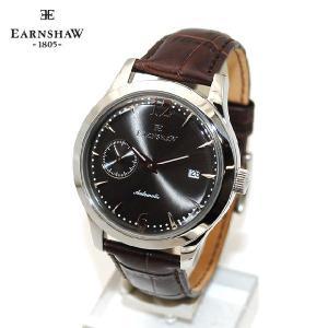 【国内正規品】 EARNSHAW (アーンショウ) 時計 腕時計 ES-8034-01 レザー ブラウン/シルバー/ガンメタル メンズ ウォッチ 自動巻き|timeclub