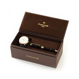 国内正規品 EARNSHAW (アーンショウ) 時計 腕時計 ES-8035-02 レザー ブラック/ピンクゴールド/ホワイト メンズ ウォッチ 自動巻き ボールペンセット|timeclub