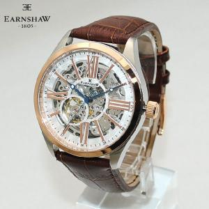 【国内正規品】 EARNSHAW (アーンショウ) 時計 腕時計 ES-8037-04 レザー ブラウン/ピンクゴールド メンズ ウォッチ 自動巻き|timeclub