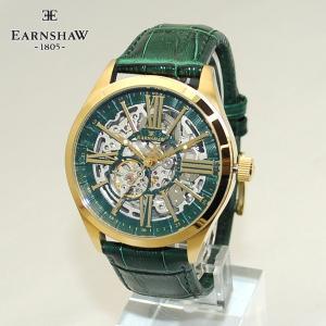 EARNSHAW (アーンショウ) 時計 腕時計 ES-8037-07 レザー グリーン/ゴールド メンズ ウォッチ 自動巻き|timeclub