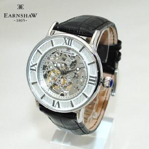【国内正規品】 EARNSHAW (アーンショウ) 時計 腕時計 ES-8038-02 レザー ブラック/シルバー メンズ ウォッチ 自動巻き|timeclub