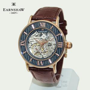 EARNSHAW 時計 アーンショウ 腕時計 ES-8038-04 レザー ブラウン ピンクゴールド ネイビー ブルー メンズ|timeclub