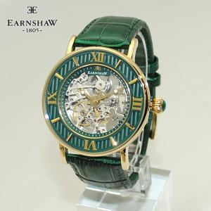 EARNSHAW (アーンショウ) 時計 腕時計 ES-8038-06 レザー グリーン/ゴールド メンズ ウォッチ 自動巻き|timeclub
