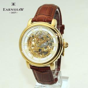 【国内正規品】 EARNSHAW (アーンショウ) 時計 腕時計 ES-8040-02 レザー ブラウン/イエローゴールド メンズ ウォッチ 自動巻き|timeclub