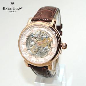 【国内正規品】 EARNSHAW (アーンショウ) 時計 腕時計 ES-8040-03 レザー ブラウン/ピンクゴールド メンズ ウォッチ 自動巻き|timeclub
