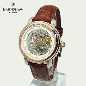 EARNSHAW 時計 アーンショウ 腕時計 ES-8040-04 レザー ブラウン ゴールド ホワイト メンズ|timeclub
