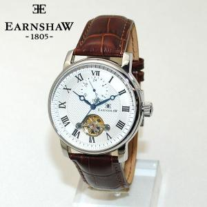 国内正規品 EARNSHAW (アーンショウ) 時計 腕時計 ES-8042-02 レザー ブラウン/シルバー 自動巻き メンズ ウォッチ 送料無料(※北海道・沖縄は1,000円)|timeclub