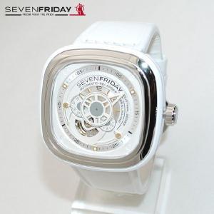 SEVEN FRIDAY (セブンフライデー) 時計 腕時計 SFP1 シルバー/ホワイト レザー 自動巻き Industrial Essence 国内正規品|timeclub