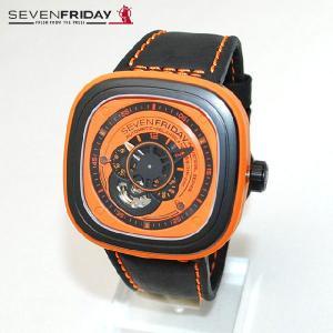 SEVEN FRIDAY (セブンフライデー) 時計 腕時計 SFP1/03 オレンジ/ブラック レザー 自動巻き Industrial Essence 国内正規品|timeclub
