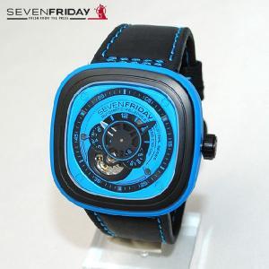 SEVEN FRIDAY (セブンフライデー) 時計 腕時計 SFP1/04 ブルー/ブラック レザー 自動巻き Industrial Essence 国内正規品|timeclub