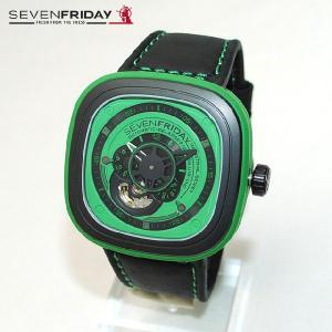 SEVEN FRIDAY (セブンフライデー) 時計 腕時計 SFP1/05 グリーン/ブラック レザー 自動巻き Industrial Essence 国内正規品|timeclub
