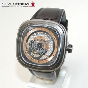 SEVEN FRIDAY (セブンフライデー) 時計 腕時計 SFP2/01 ガンメタル/ダークブラウン レザー 自動巻き Industrial Revolution 国内正規品|timeclub