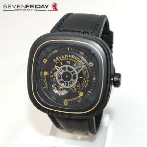 SEVEN FRIDAY (セブンフライデー) 時計 腕時計 SFP2/02 ゴールド/ブラック レザー 自動巻き Industrial Revolution|timeclub