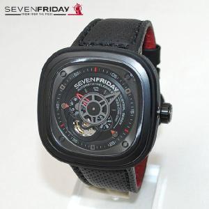 SEVEN FRIDAY (セブンフライデー) 時計 腕時計 SFP3/01 ブラック/レッド レザー 自動巻き Industrial Engine|timeclub