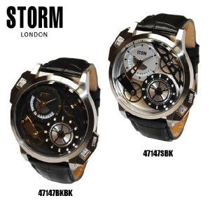 STORM LONDON(ストームロンドン) 時計 腕時計 47147 DUALMEC レザー 47147BKBK 47147SBK メンズ 国内正規品|timeclub