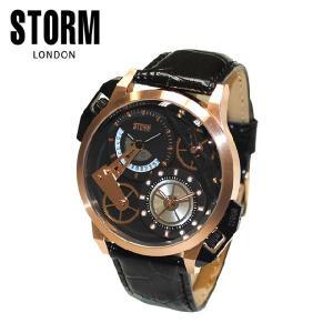 《》STORM LONDON(ストームロンドン) 時計 腕時計 47147RGBK DUALON ROSE GOLD LHR ブラックレザー/ローズゴールド メンズ 国内正規品|timeclub