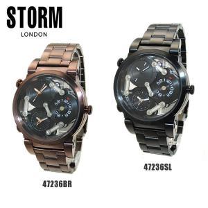 STORM LONDON ストームロンドン 腕時計 TRI-MEZ BROWN SLATE 47236BR ブラウン 47236SL シルバー メンズ|timeclub