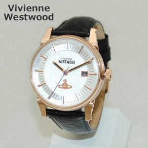 Vivienne Westwood (ヴィヴィアンウエストウッド) 腕時計 VV065SWHBK ブラック レザー/ピンクゴールド 時計 メンズ ヴィヴィアン|timeclub