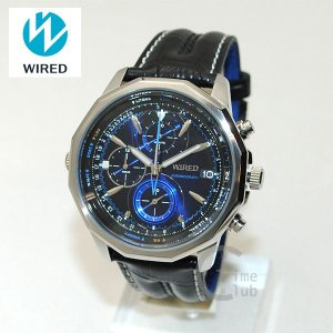 国内正規品 WIRED(ワイアード) 時計 腕時計 AGAW422 THE BLUE レザー ブラック/シルバー/ブルー|timeclub