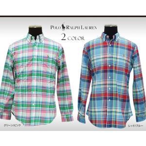 柔らかなコットンオックスフォードで仕立てたチェック柄の長袖シャツです。マルチカラーのポニー刺繍がアク...