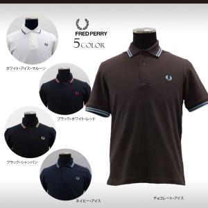 フレッドペリーのベーシック鹿の子半袖ポロシャツ。襟と袖口に2本のティップライン。左胸にローレル刺繍。...