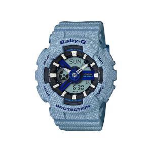 並行輸入品 10年保証 CASIO BABY-G カシオ ベビーG BA-110DE-2A2 腕時計 レディース キッズ 子供 女の子 アナデジ 防水 ブラック 黒 スカイブルー 水色 デニム|timelovers