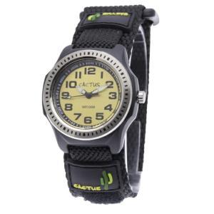 送料無料 カクタス アナログ腕時計 キッズ ベルクロ ボーイズ 男の子 子供 KIDS VELCRO ブラック 黒 イエロー 黄色 マジックテープ CACTUS CAC-45-M10|timelovers